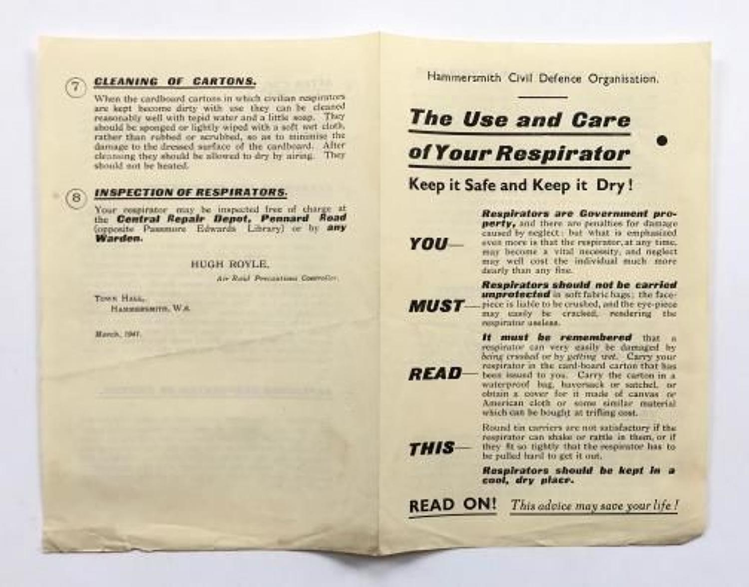 WW2 Home Front Hammersmith Use of Gas Mask Leaflet.