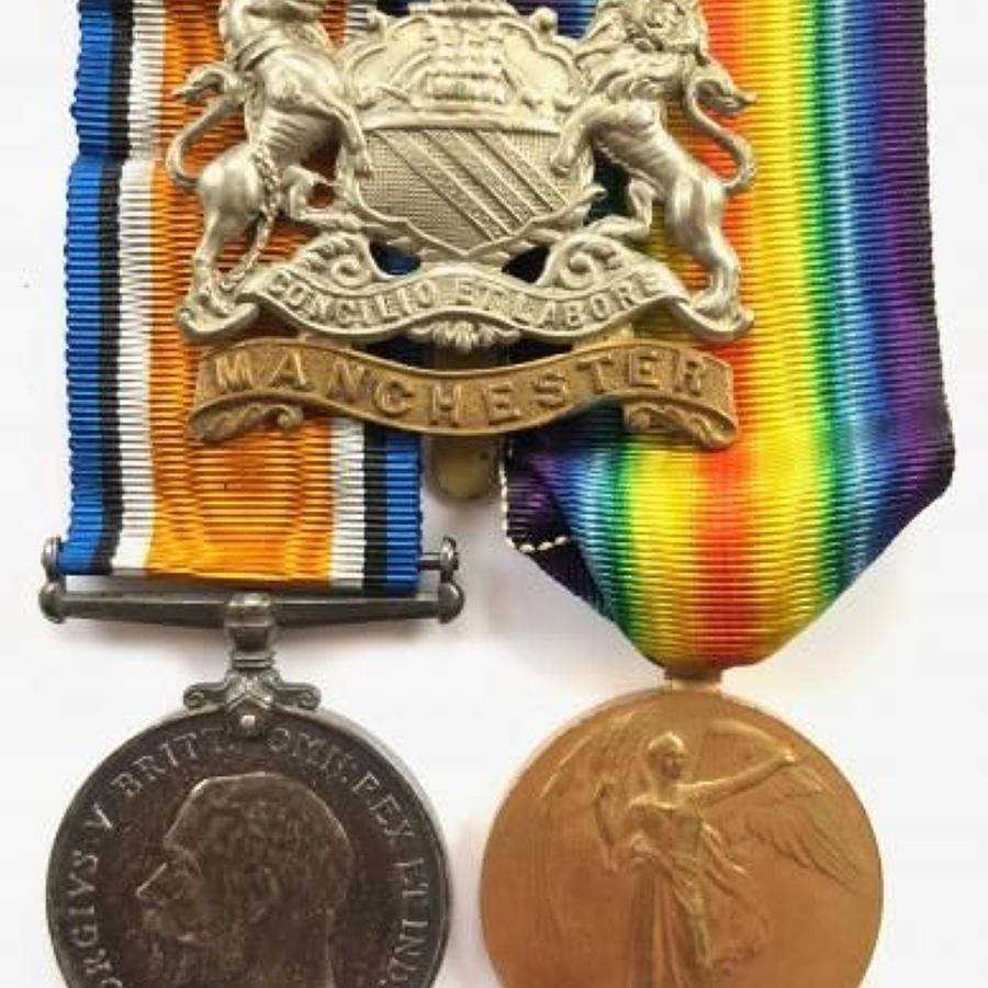 WW1 Manchester Regiment Pair of Medals.