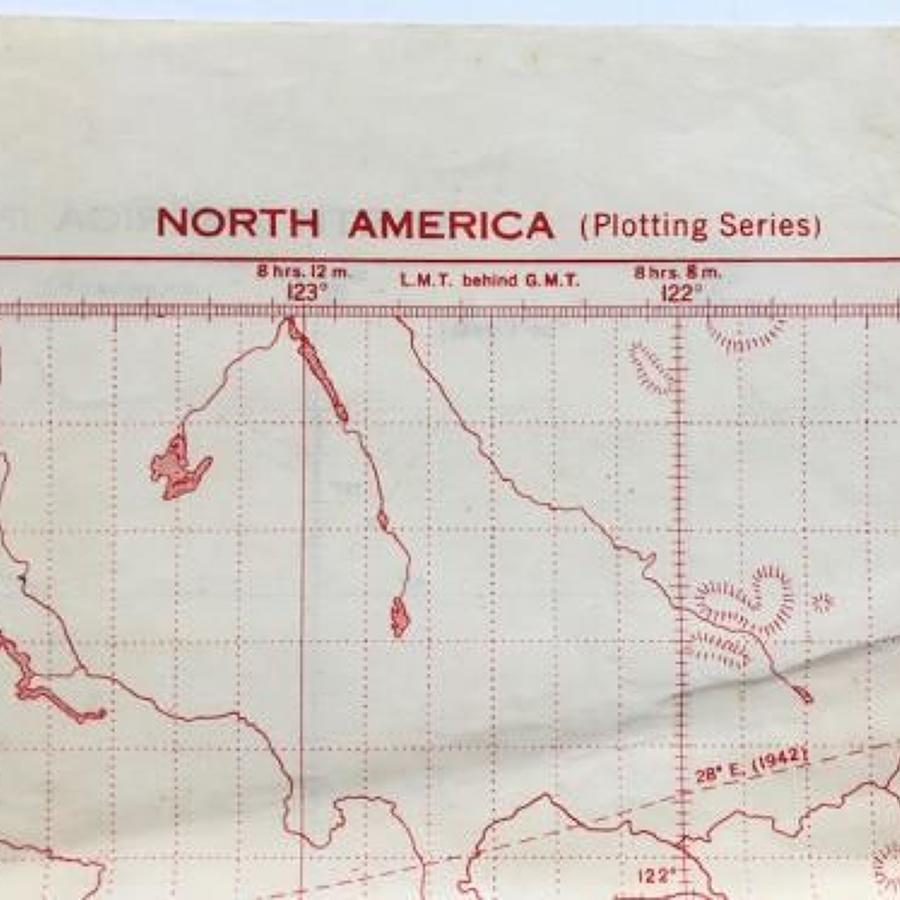 WW2 RAF Navigation Training Map of North America.