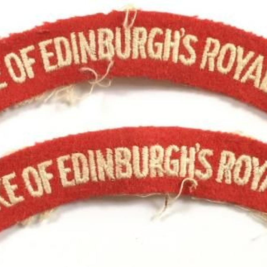 Duke of Edinburgh's Royal Regiment. Pair of Cloth Shoulder Title Badge