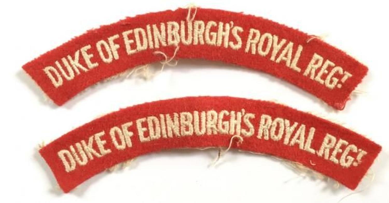 Duke of Edinburgh's Royal Regiment. Pair of Cloth Shoulder Title Badge