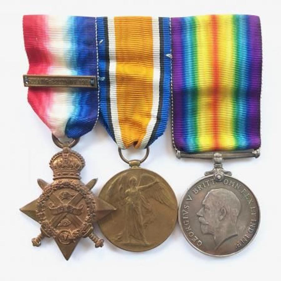 WW1 1st Bn Royal Fusiliers 1914 Star & Clasp Trio of Medals.