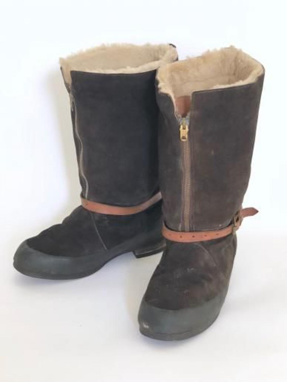 WW2 RAF 1941 Pattern Brown Suede Flying Boots.