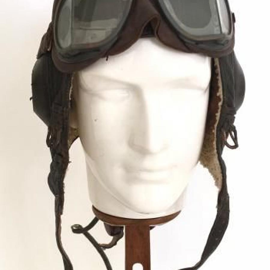 WW2 Luftwaffe Winter Flying Helmet Worn By RAF Polish Fighter Pilot