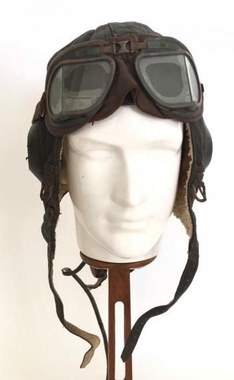WW2 Luftwaffe Winter Flying Helmet Worn By RAF Polish Fighter Pilot