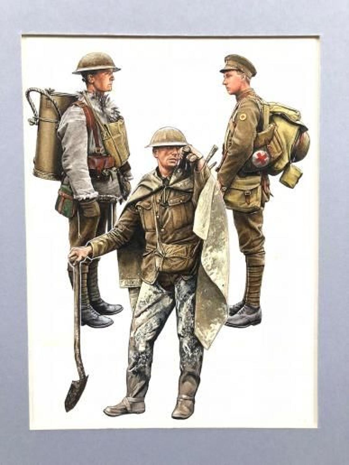 WW1 Original British Army  Pierre Turner Book Illustration of Uniforms