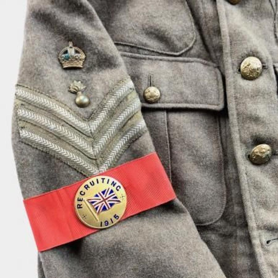 WW1 1915 Recruiting Enamel Badge Armband.