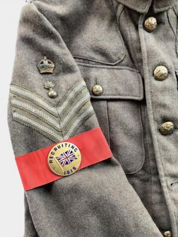 WW1 1915 Recruiting Enamel Badge Armband.
