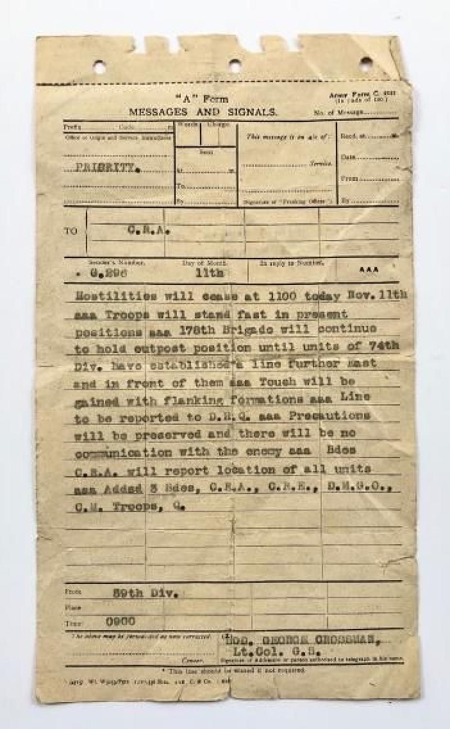 WW1 1918 59th Division End of Hostilities Original Message