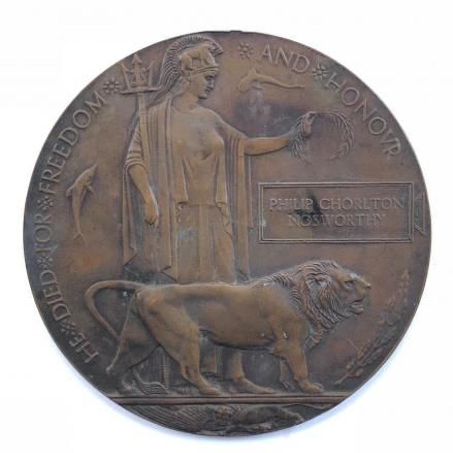 WW1 1915 Cheshire Regiment Officer's Memorial Plaque.