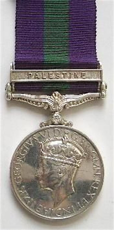 2nd Bn Highland Light Infantry General Service Medal, clasp Palestine.