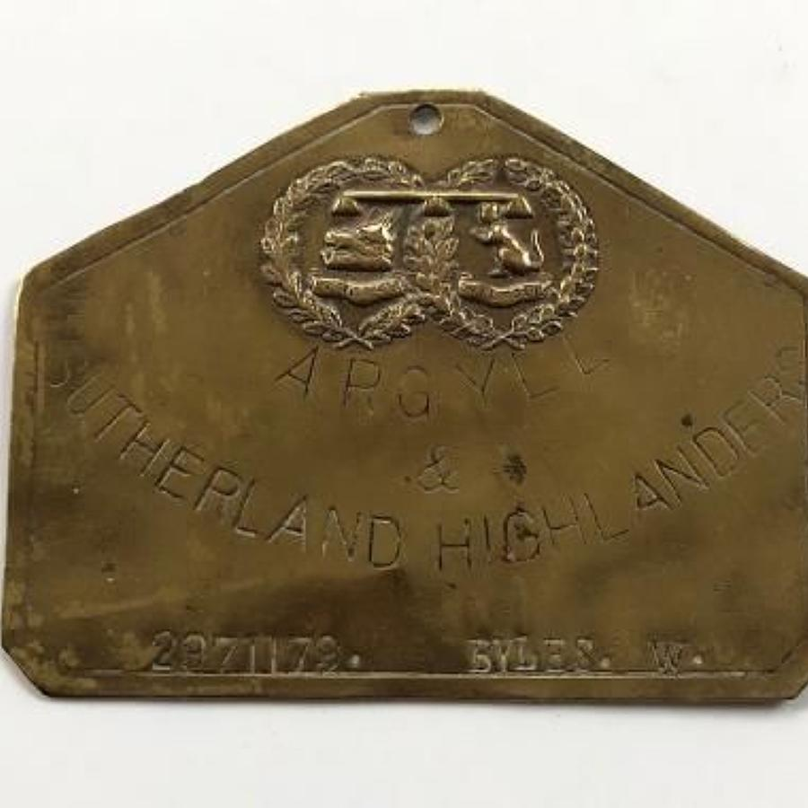 Argyll & Sutherland Highlanders Brass Duty Bed Plate.