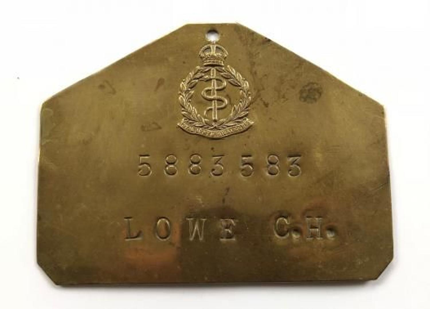 Royal Army Medical Corps Brass Duty Plate.