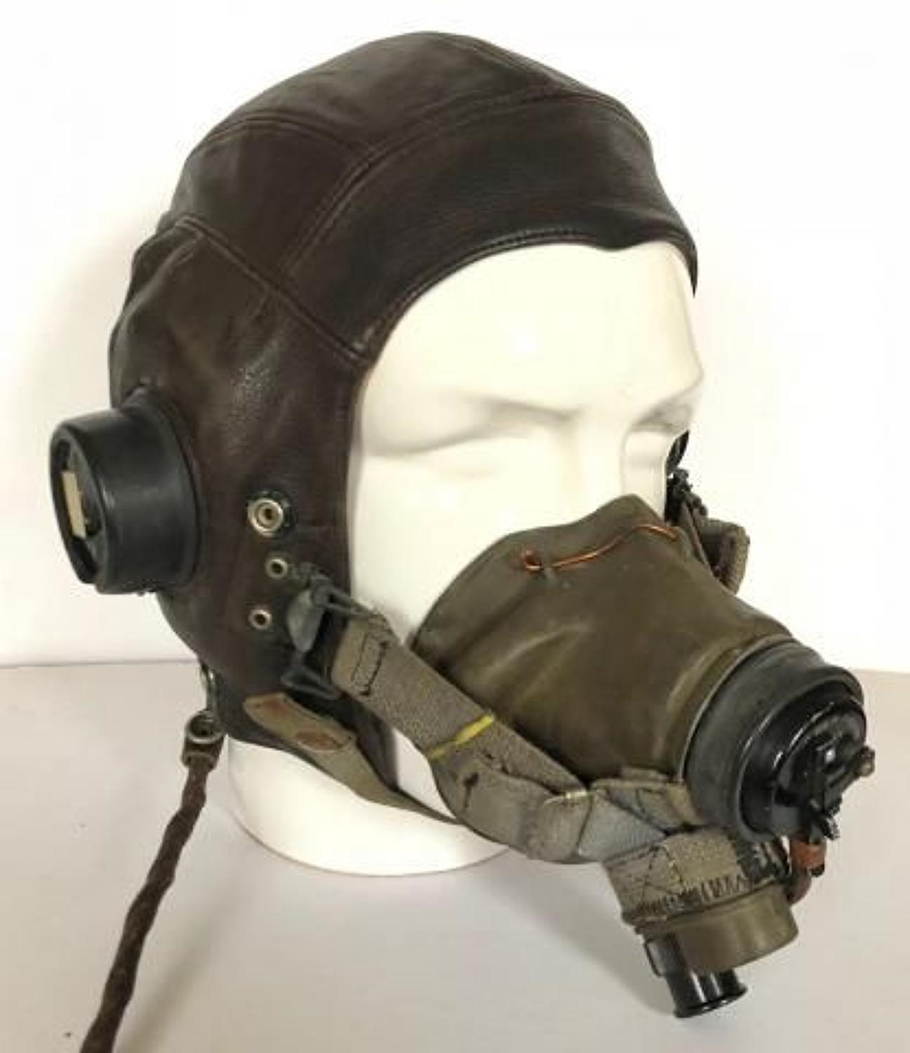 WW2 Period RAF C Type Flying Helmet / G Type Oxygen Mask Attributed Se