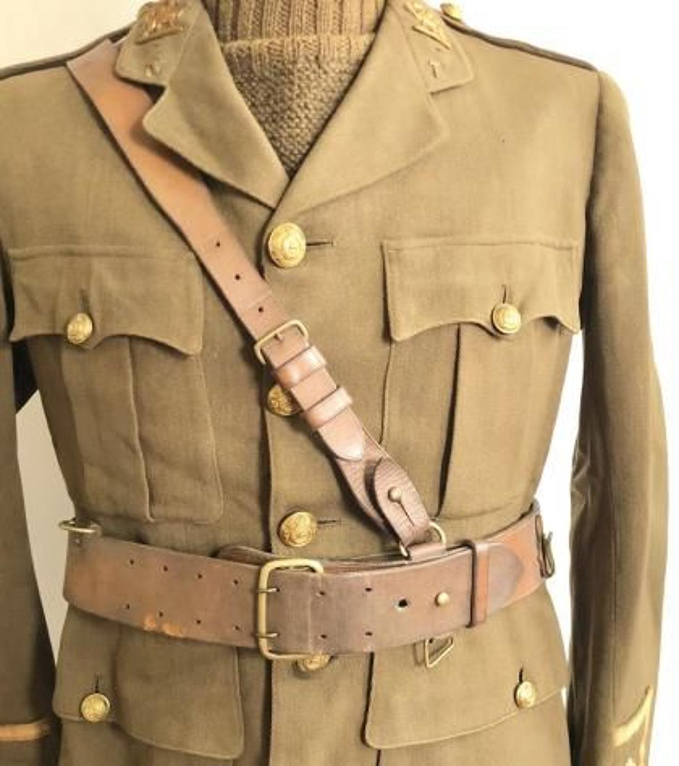 WW1 1915 British Officer's Sam Brown Belt.