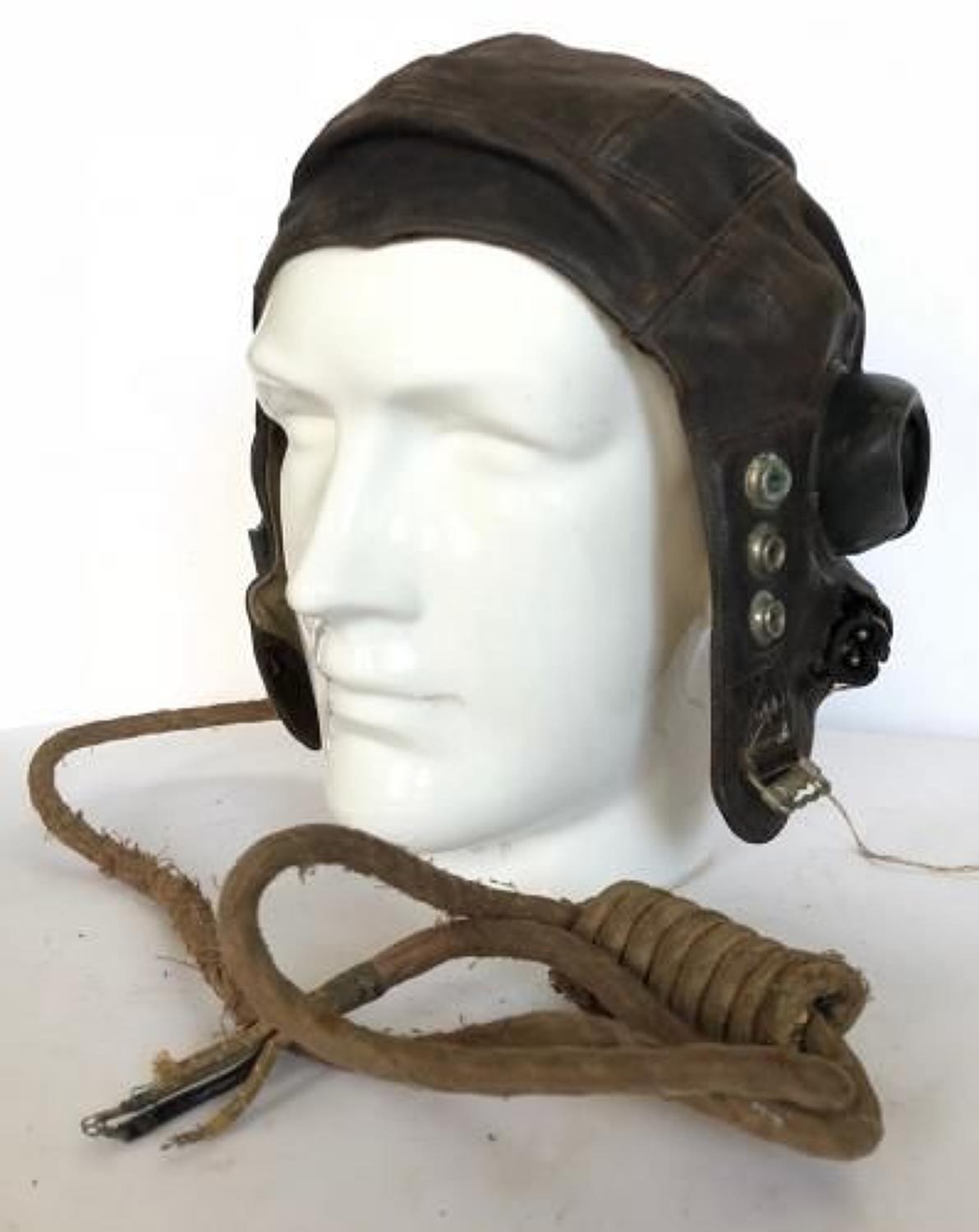 WW2 Period RAF Leather C Type Flying Helmet.