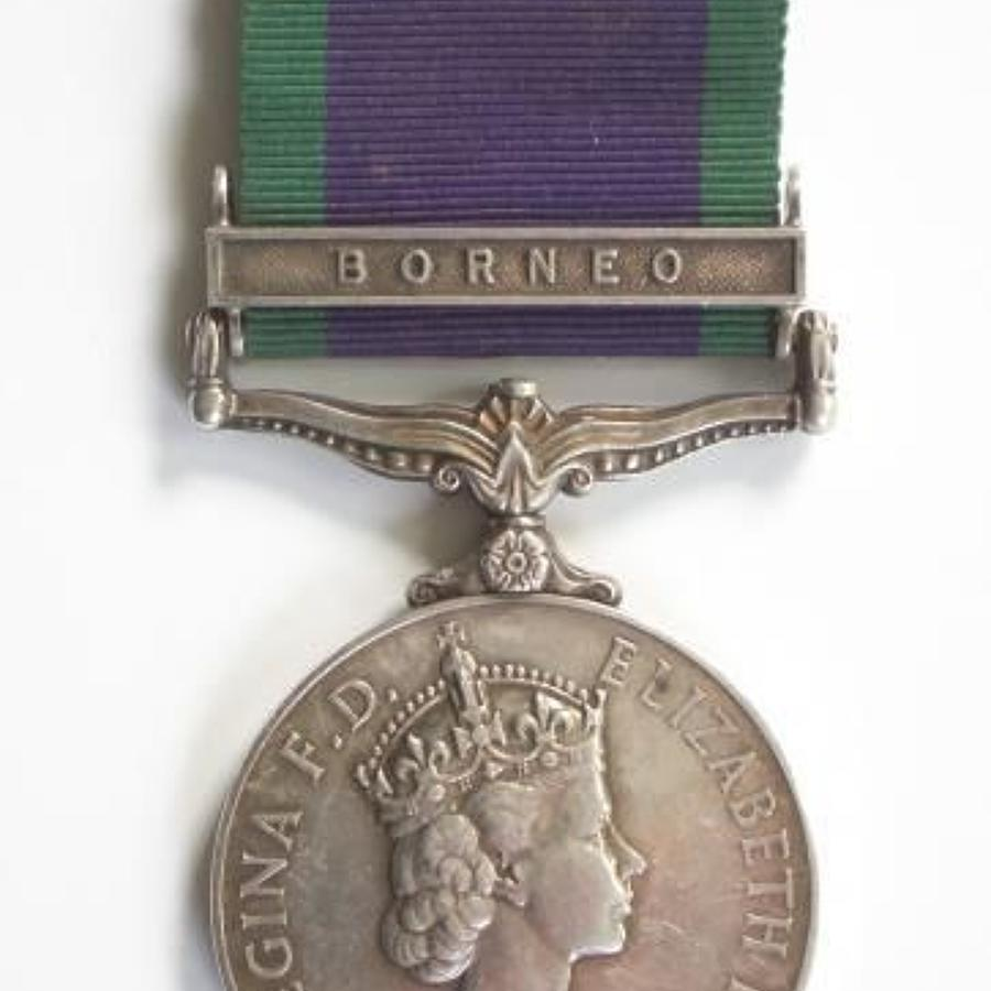 Queens Own Buffs Campaign Service Medal Clasp Borneo