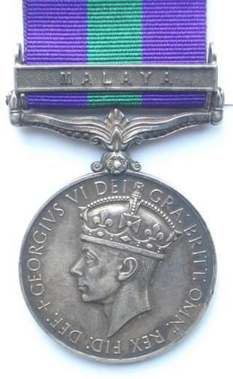 "12th Lancers General Service Medal clasp ""Malaya"""