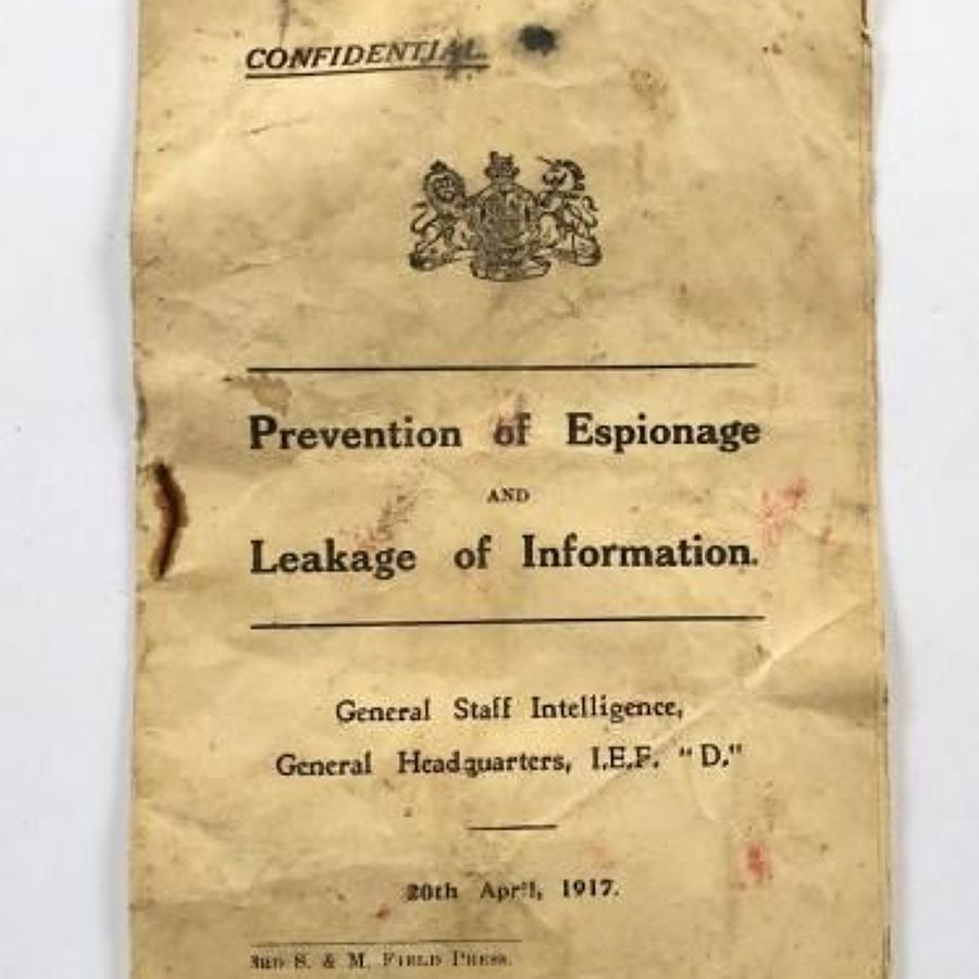 WW1 1917 War Department Confidential Booklet Prevention of Espionage.