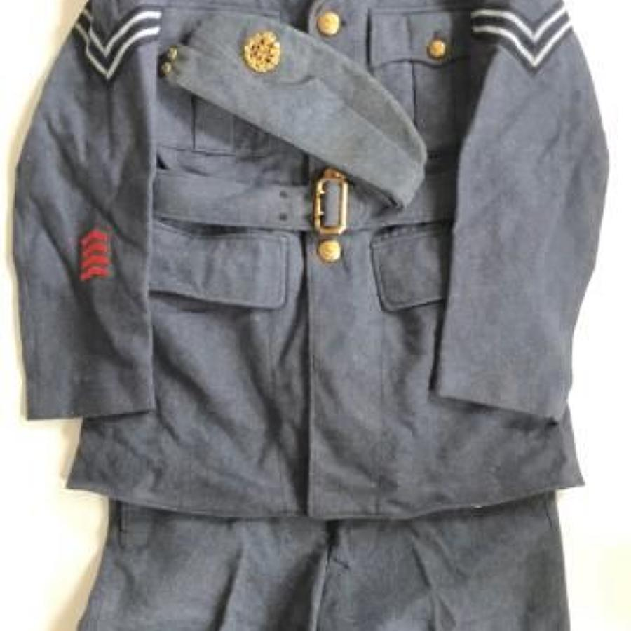 WW2 RAF Four Pocket Uniform, Trousers and Side Cap As Worn.