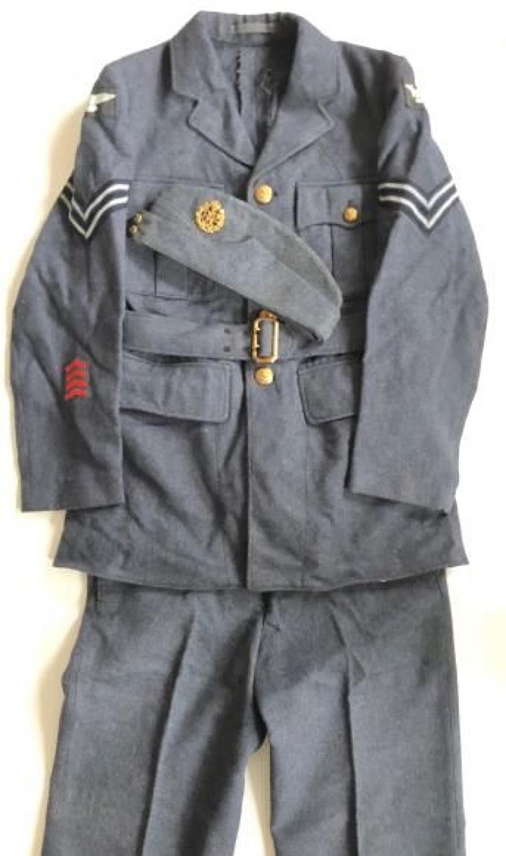 WW2 RAF Four Pocket Uniform, Trousers and Side Cap As Worn.