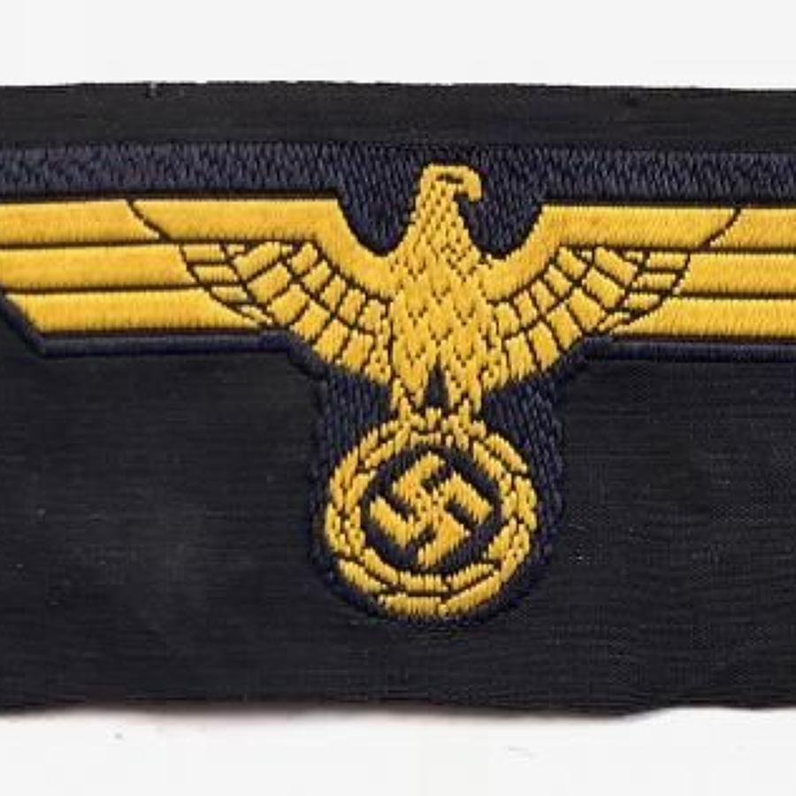 WW2 German Third Reich Kriegsmarine Bevo Weave Cap Eagle.
