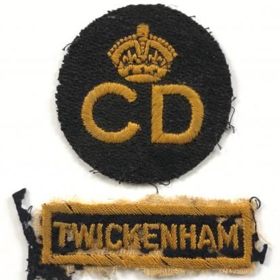 WW2 Civil Defence Twickenham Cloth Uniform Badges.