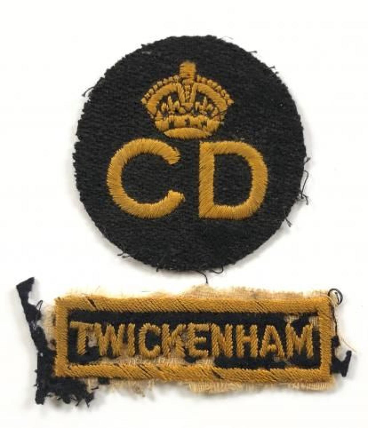 WW2 Civil Defence Twickenham Cloth Uniform Badges.