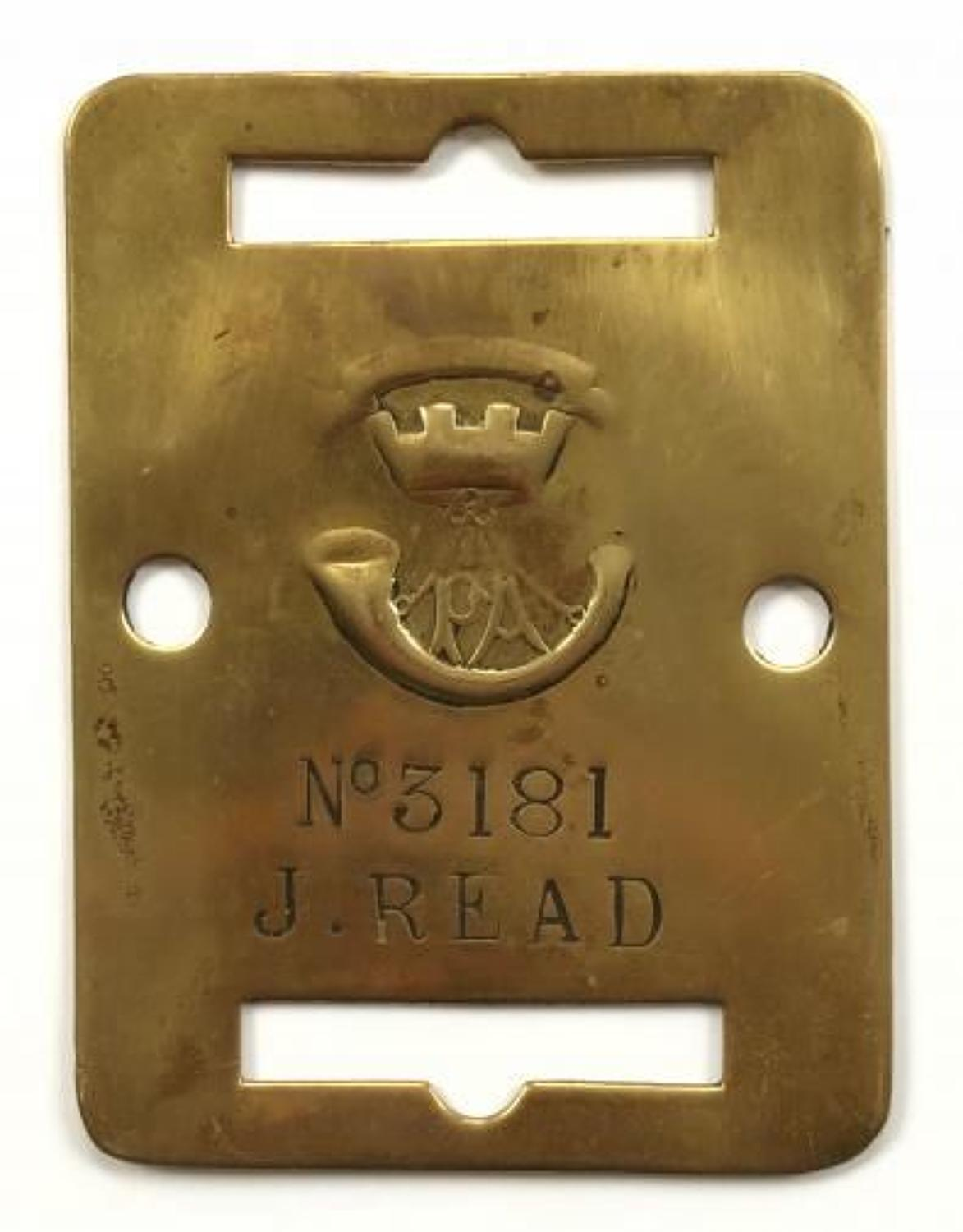Victorian Somerset Light Infantry Brass Duty Plate.