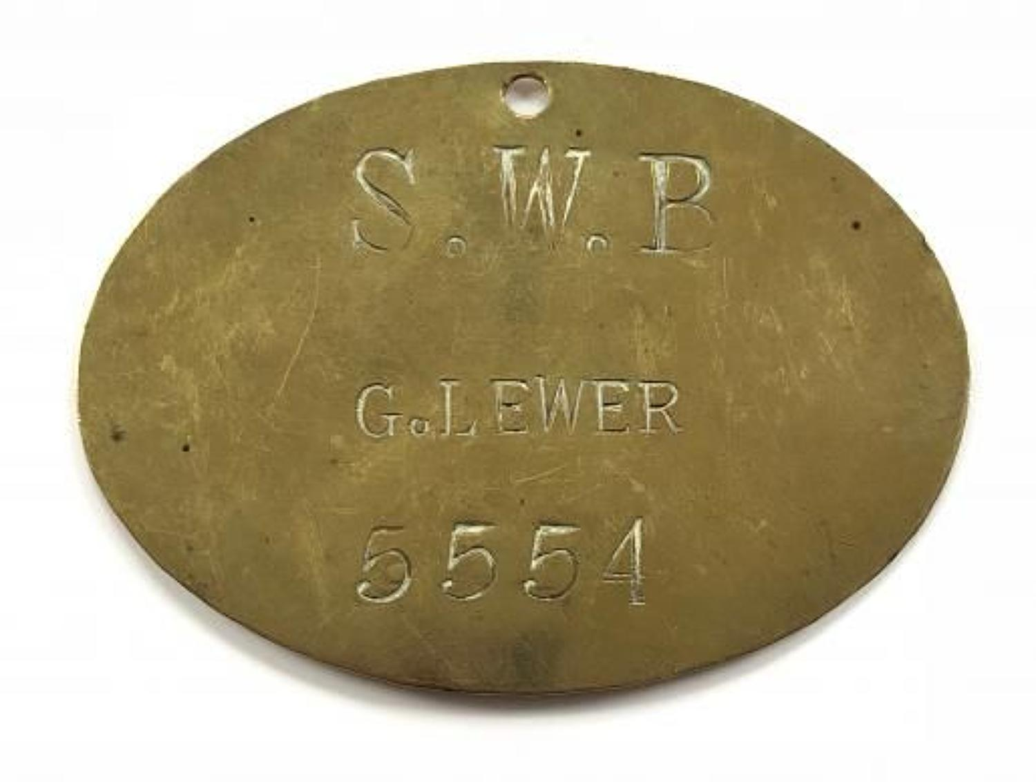 Victorian South Wales Borderers Brass Duty Plate.