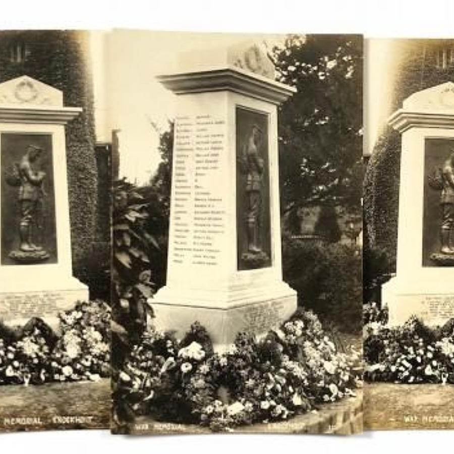WW1 War Memorial Knockholt Kent Original 1923 Postcards.