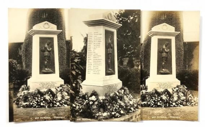 WW1 War Memorial Knockholt Kent Original 1923 Postcards.
