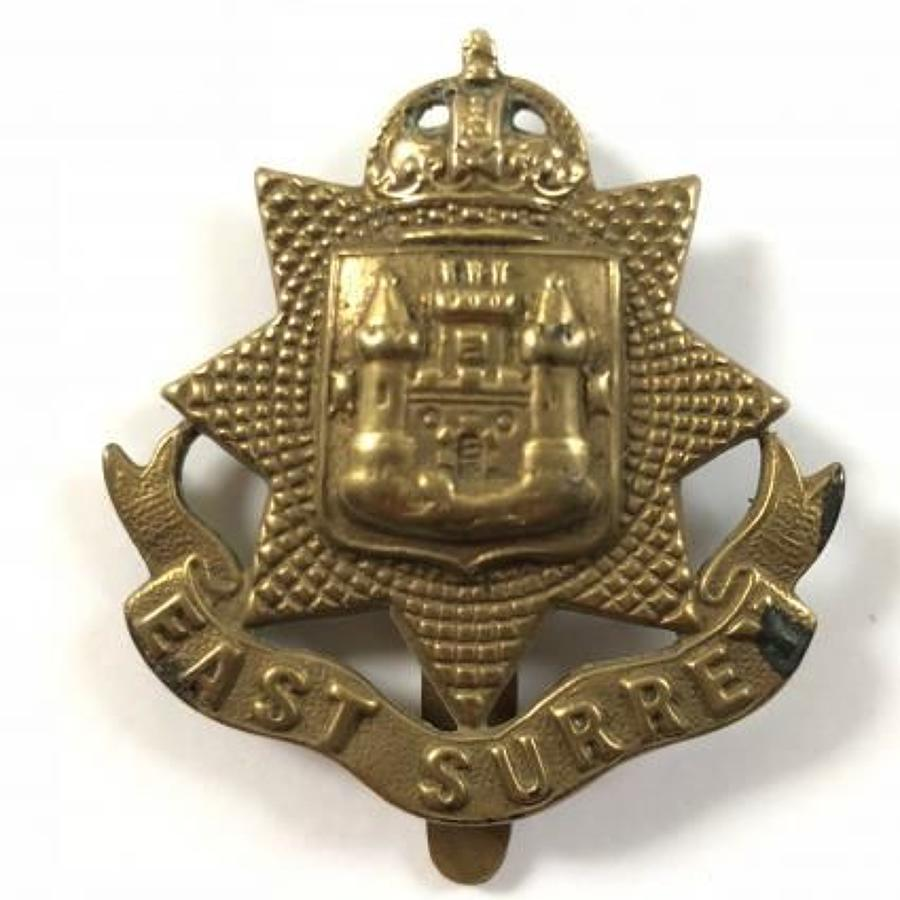 WW1 East Surrey All Brass Economy Cap Badge by