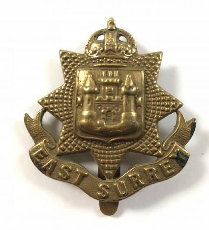 WW1 East Surrey All Brass Economy Cap Badge by
