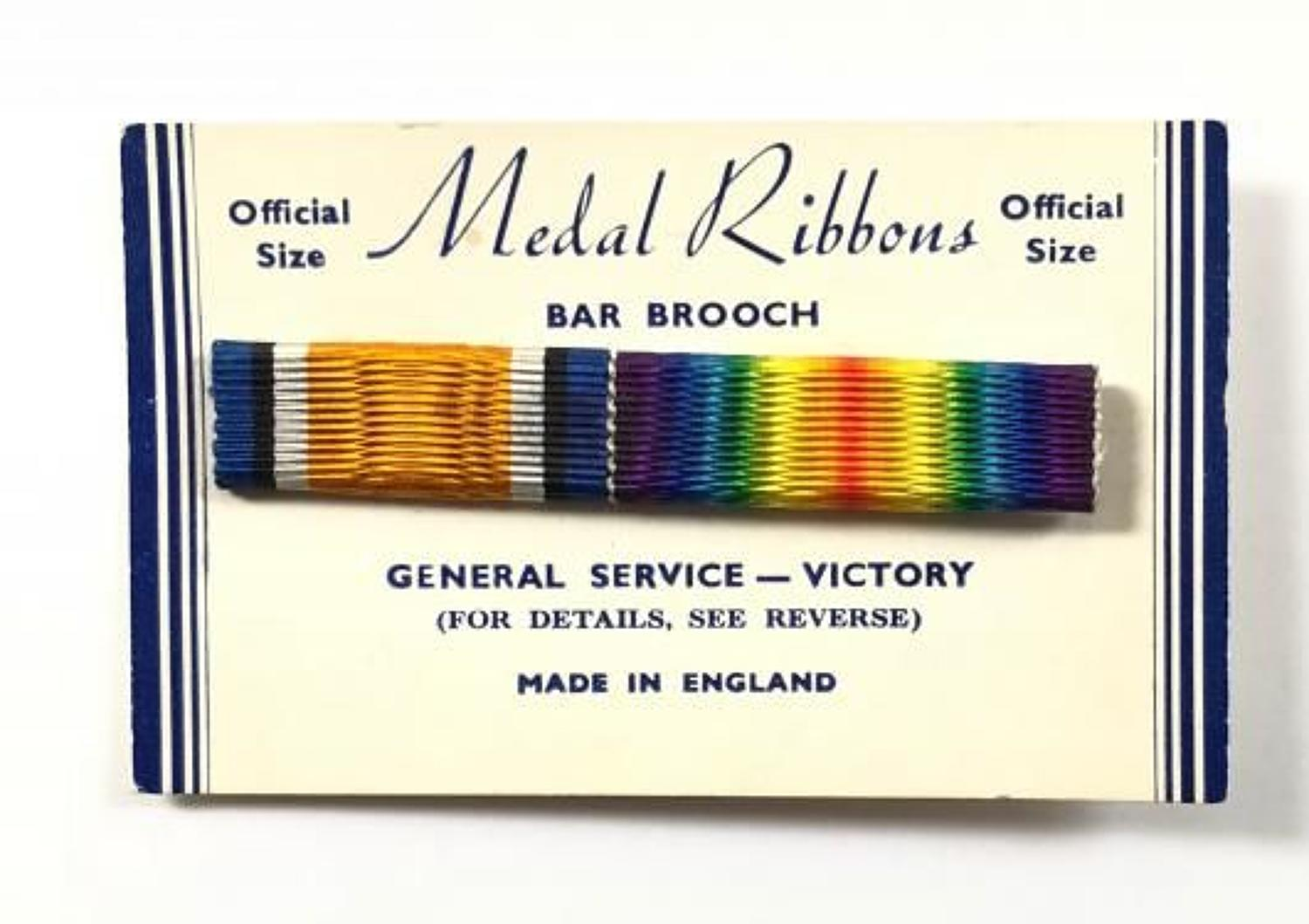 WW1 British War Medal & Victory Medal Uniform Ribbon Bar.