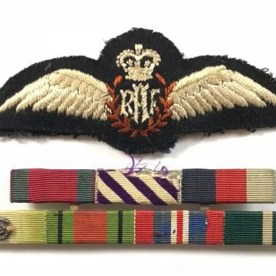 RAF Attributed Pilots Wings & Original Uniform Medal Ribbons