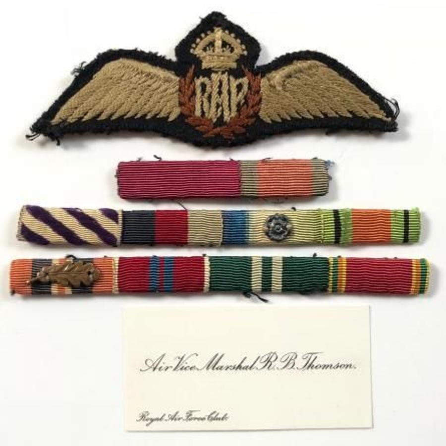 RAF Attributed King's Crown Pilots Wings & Original Medal Ribbons