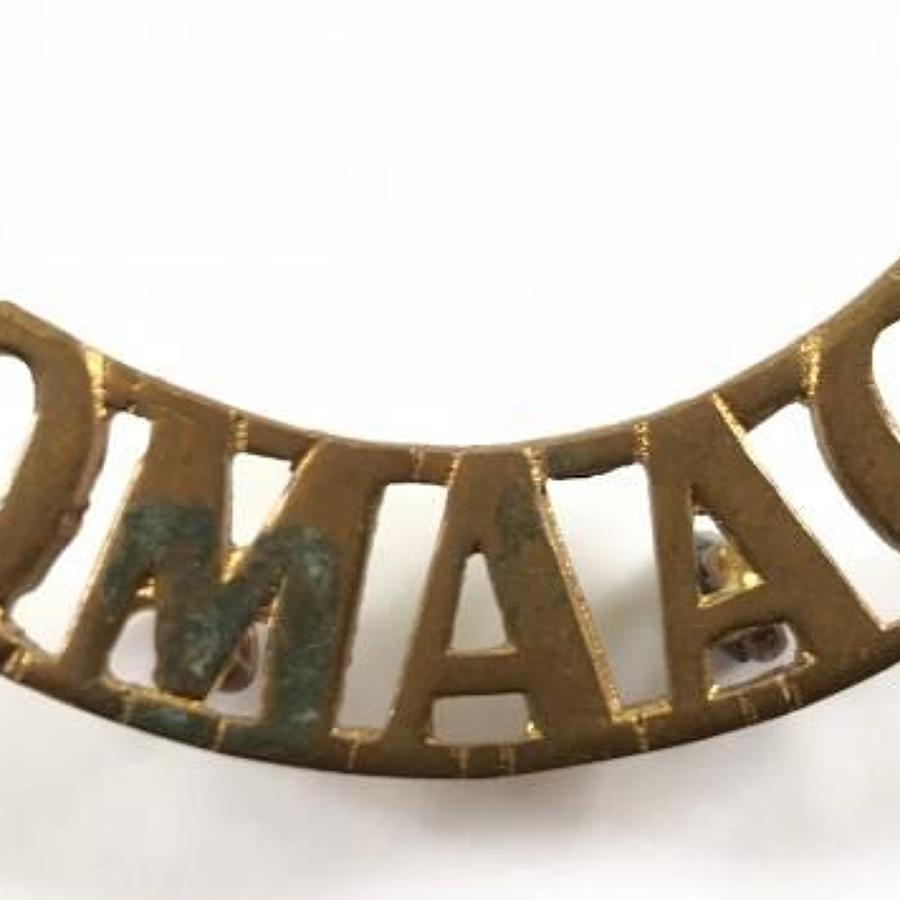 WW1 Queen Mary's Army Auxiliary Corps Brass Shoulder Title.