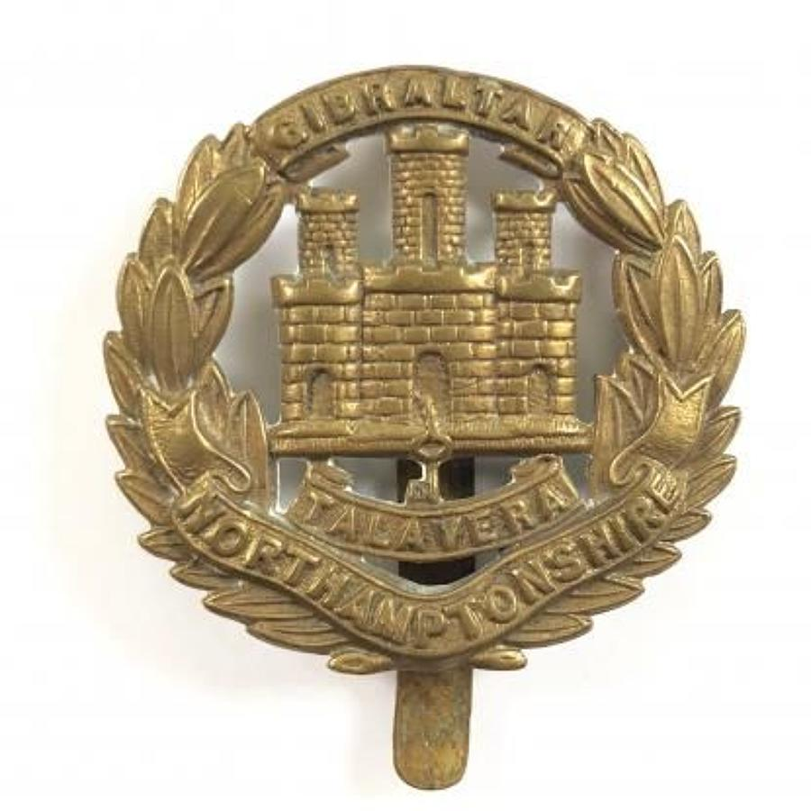 WW1 All Brass Economy Issue  Northamptonshire Regiment Cap Badge
