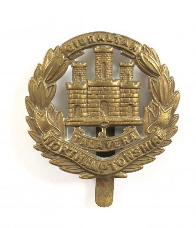 WW1 All Brass Economy Issue  Northamptonshire Regiment Cap Badge