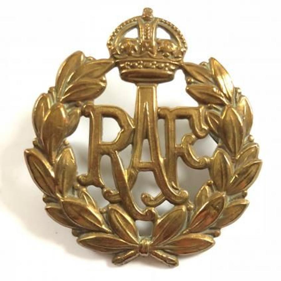 WW2 Pattern RAF Other Rank's Brass Cap Badge.