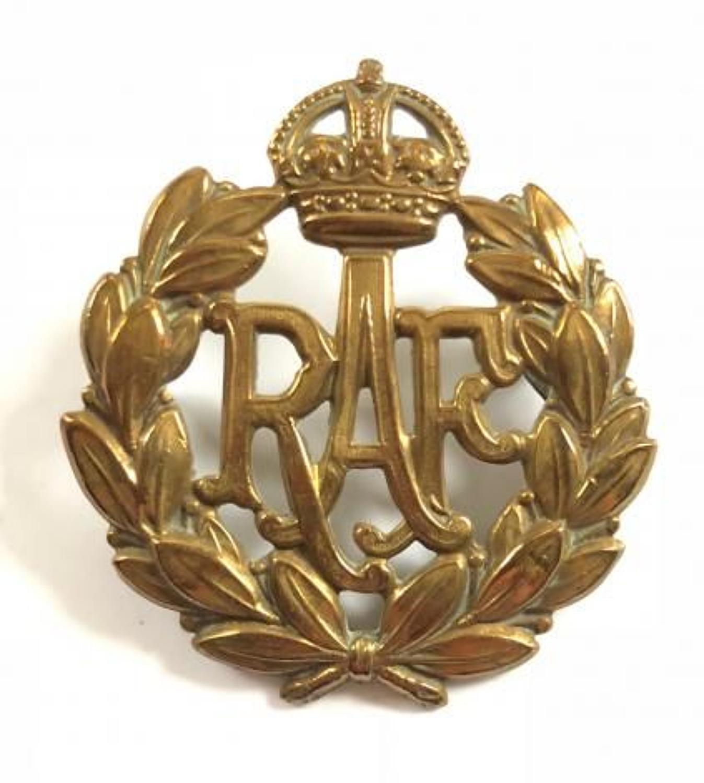 WW2 Pattern RAF Other Rank's Brass Cap Badge.