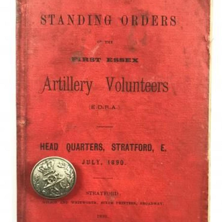 Victorian 1st Essex Artillery Standing Orders 1890 & Button.