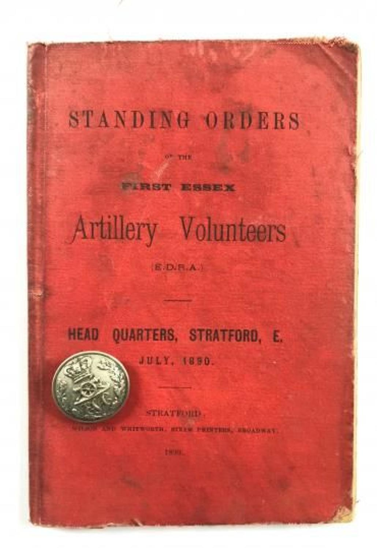 Victorian 1st Essex Artillery Standing Orders 1890 & Button.