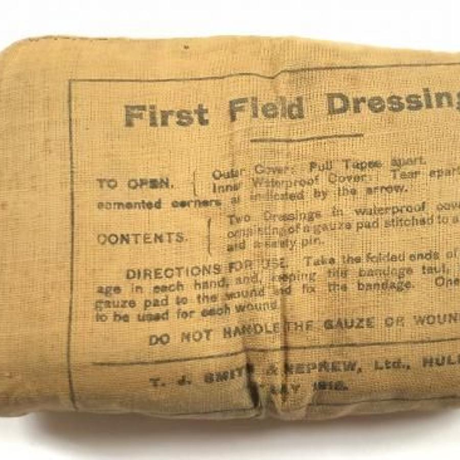 WW1 1918 British Army First Field Dressing.