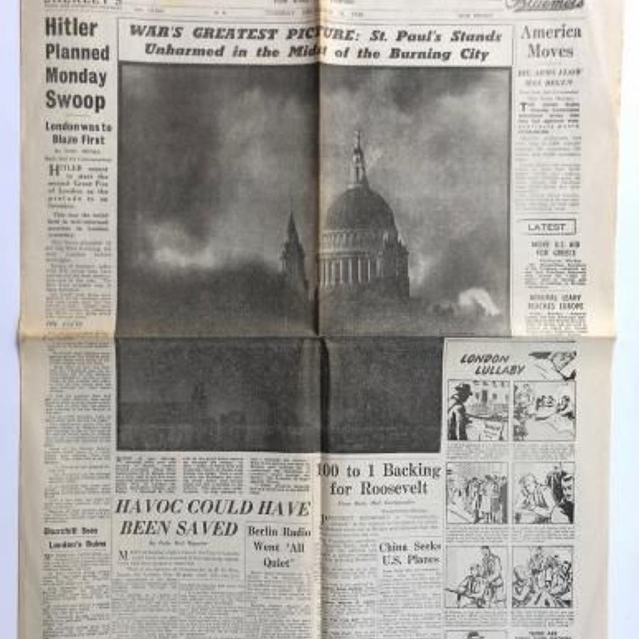 WW2 Daily Mail London Blitz 31st December 1940.