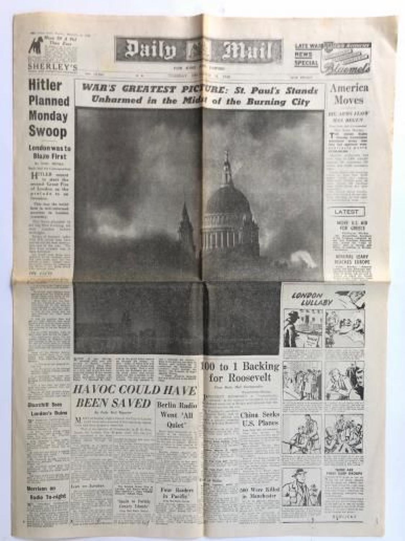 WW2 Daily Mail London Blitz 31st December 1940.