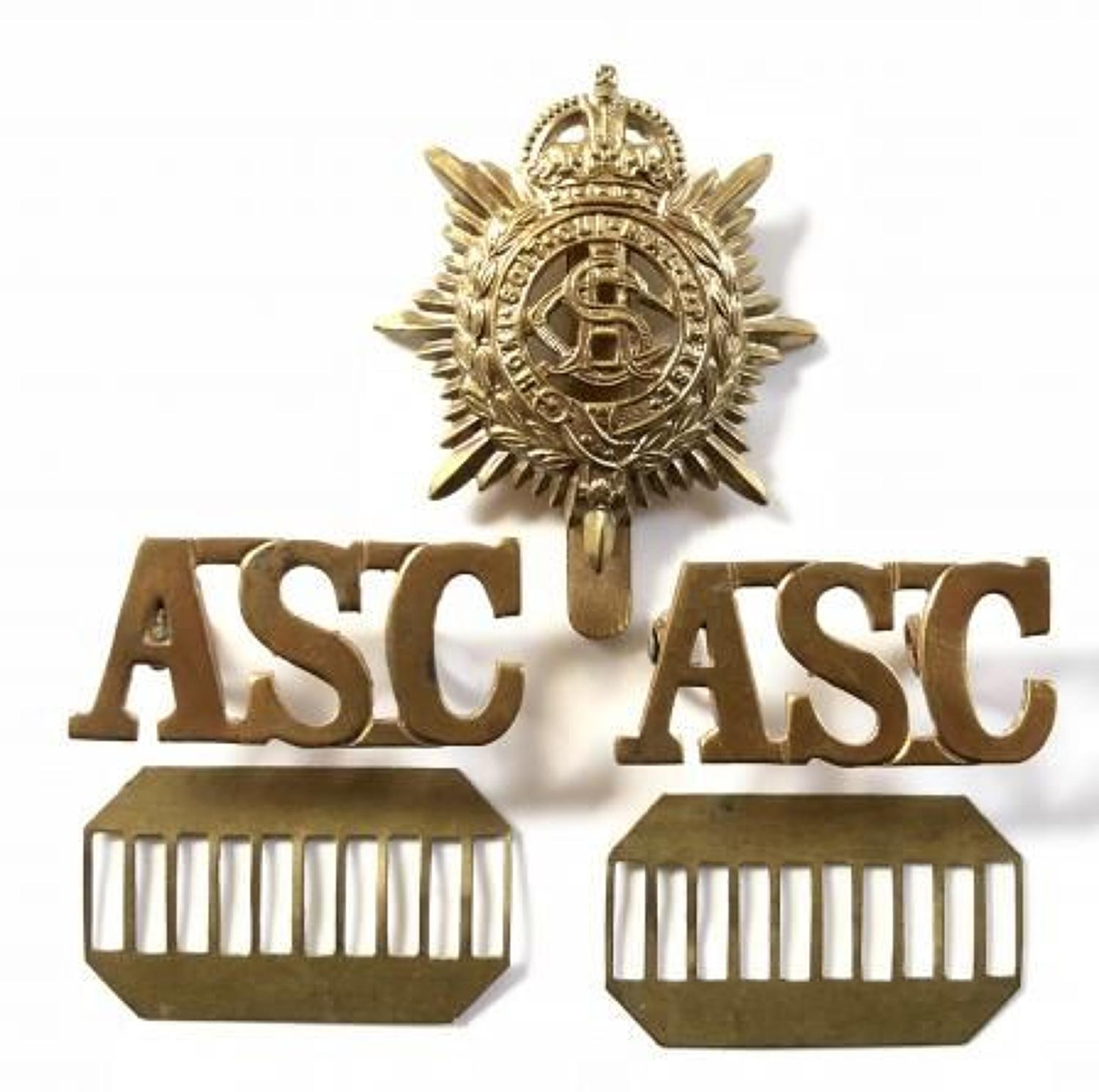 WW1 Army Service Corps Cap Badge and Brass Shoulder Tittles