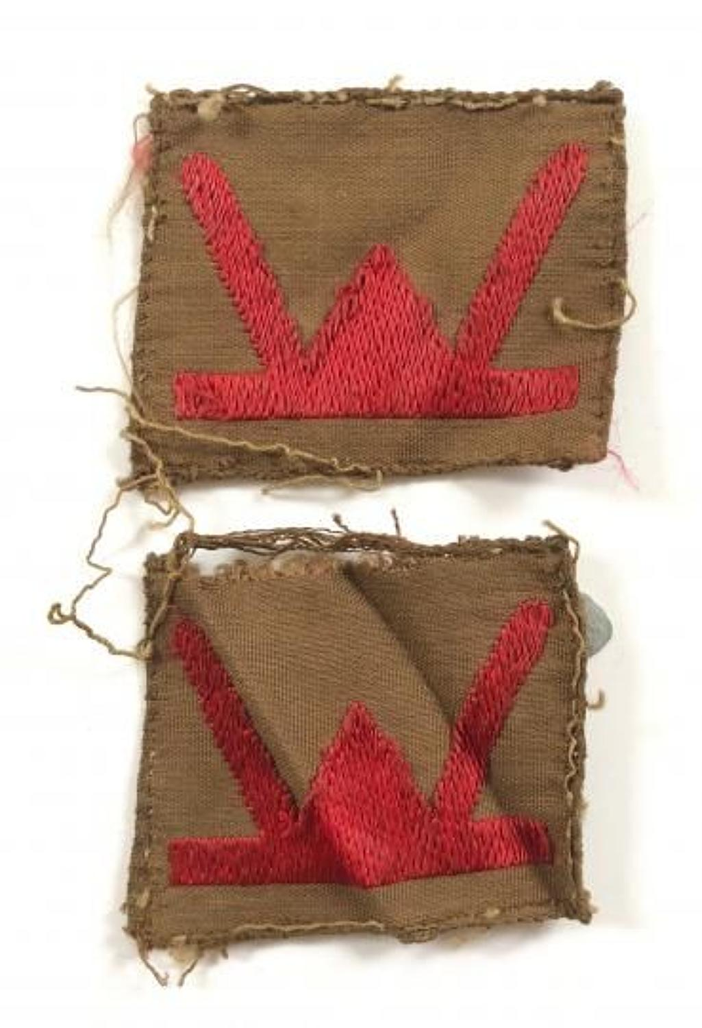 WW2 53rd Welsh Division Pair of Formation Cloth Badges.