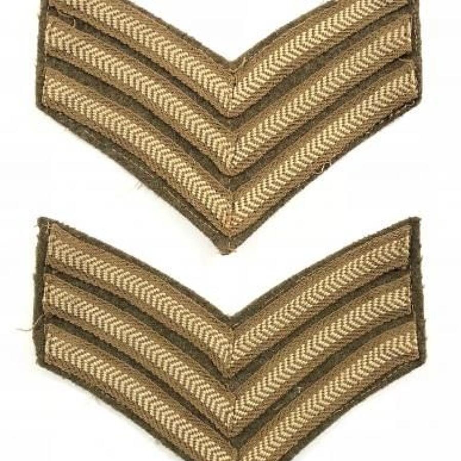WW2 British Army Sergeant Chevron Badges.